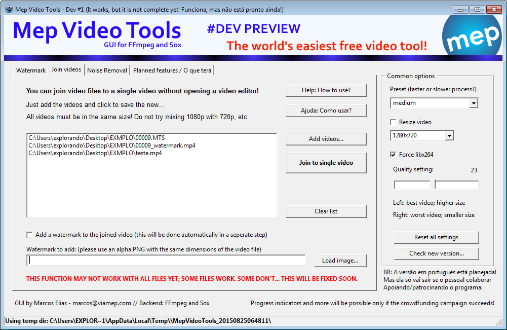 mep video tools - how to merge videos together