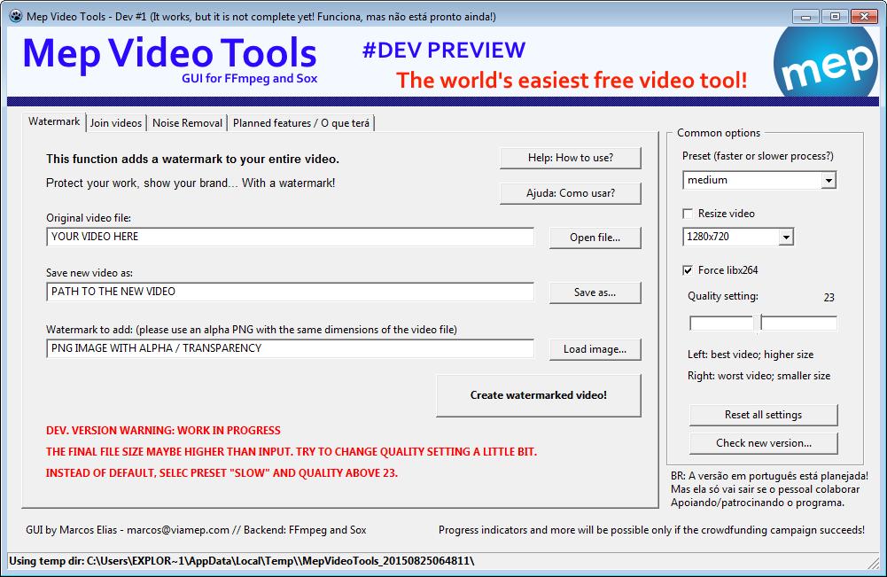 mep video tools - how to watermark video